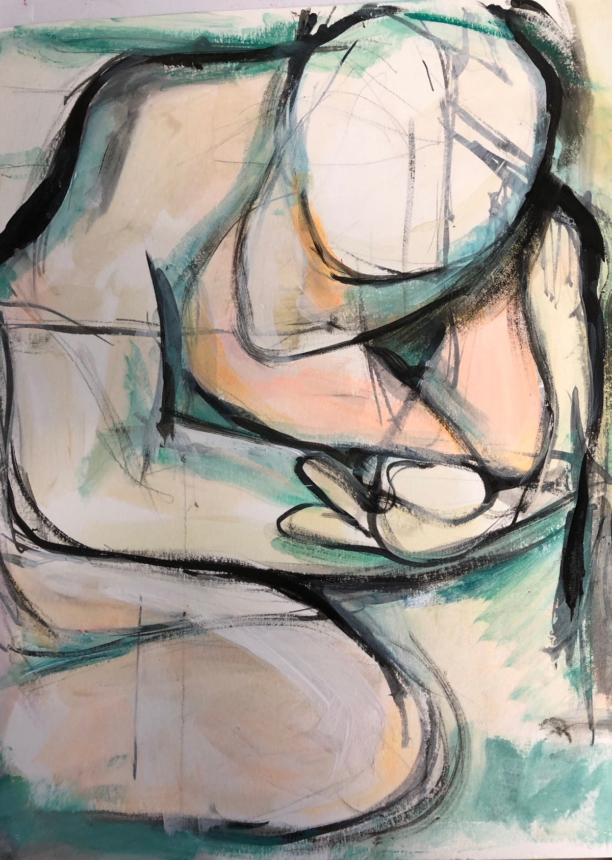 Image of Self Love - original abstract figurative  painting on paper