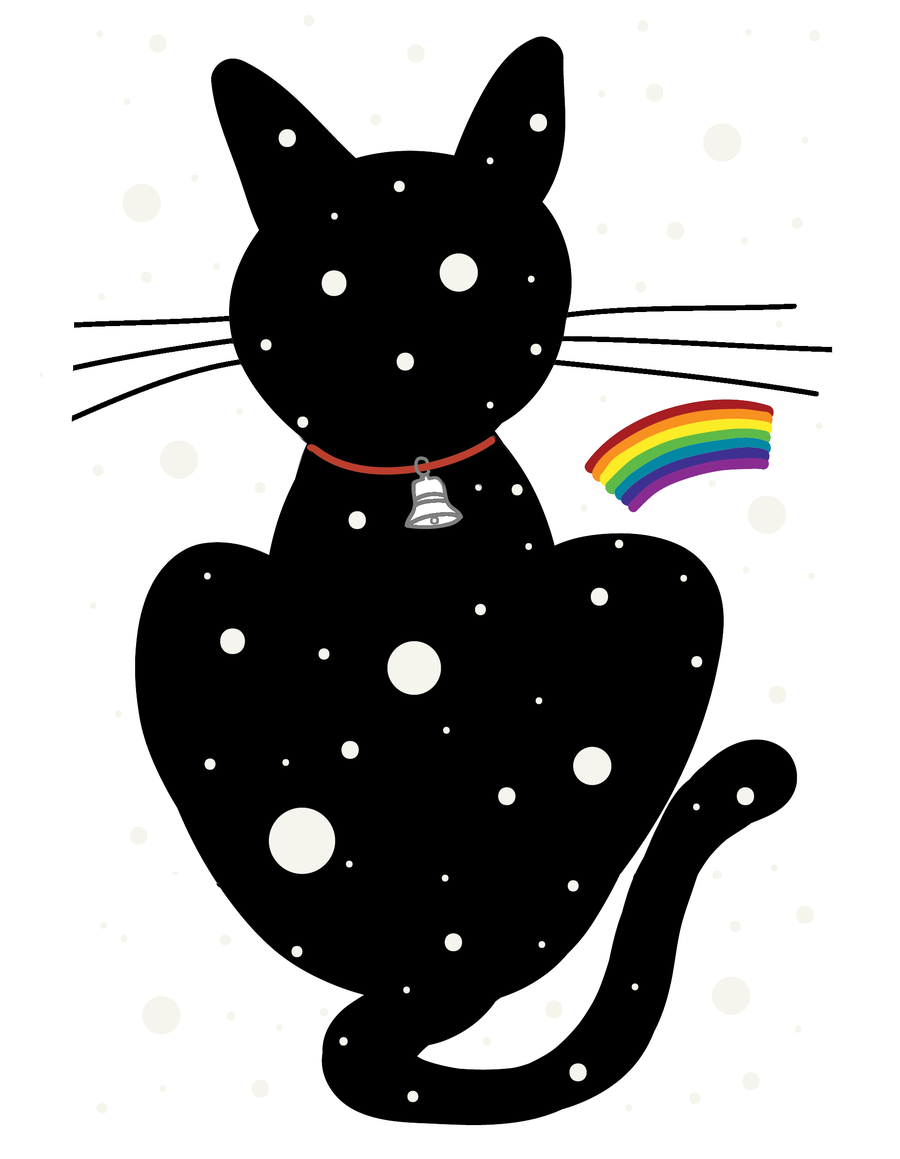 Image of Happy Holidays! - Snow Cat With Rainbow