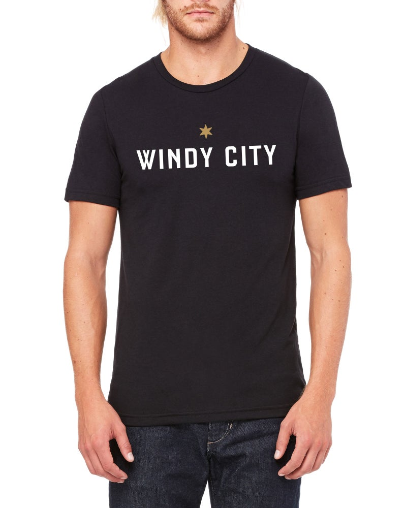 Image of Mens Windy City T-Shirt (Charcoal Black)