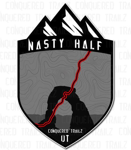 "Image of ""Nasty Half"" Trail Badge"