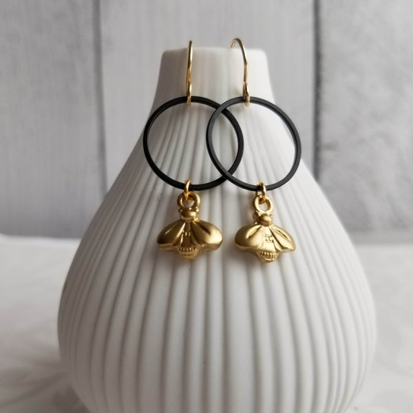 Image of Golden Honey Bee Earrings