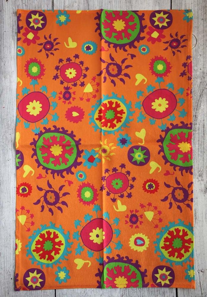 Image of Orange Mod Suzani Tea Towel