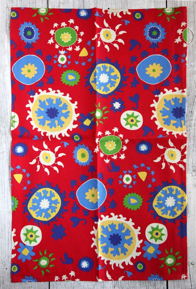 Image of Red Mod Suzani Tea Towel - FREE SHIPPING