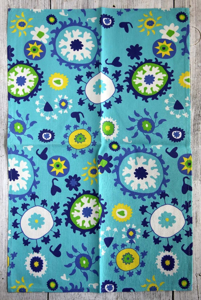 Image of Turquoise Mod Suzani Tea Towel - FREE SHIPPING