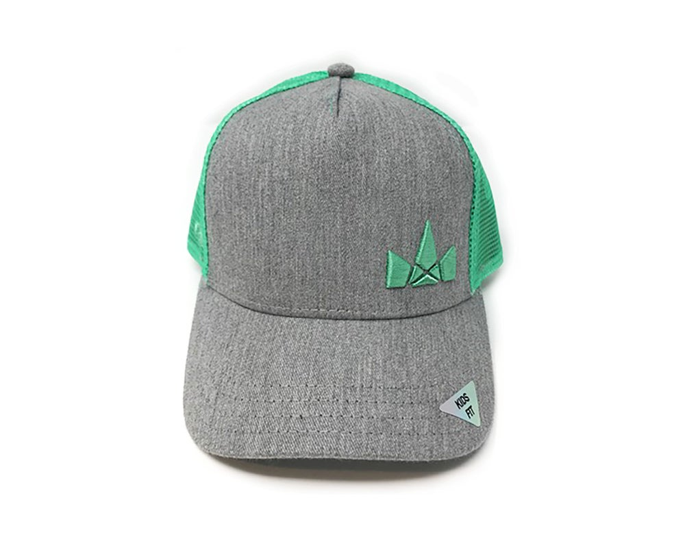 Image of Kids Fit Crown Logo Hat, Grey/Mint