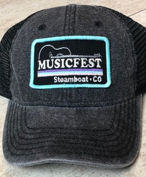 Image of Black Mesh Trucker with Rectangle patch