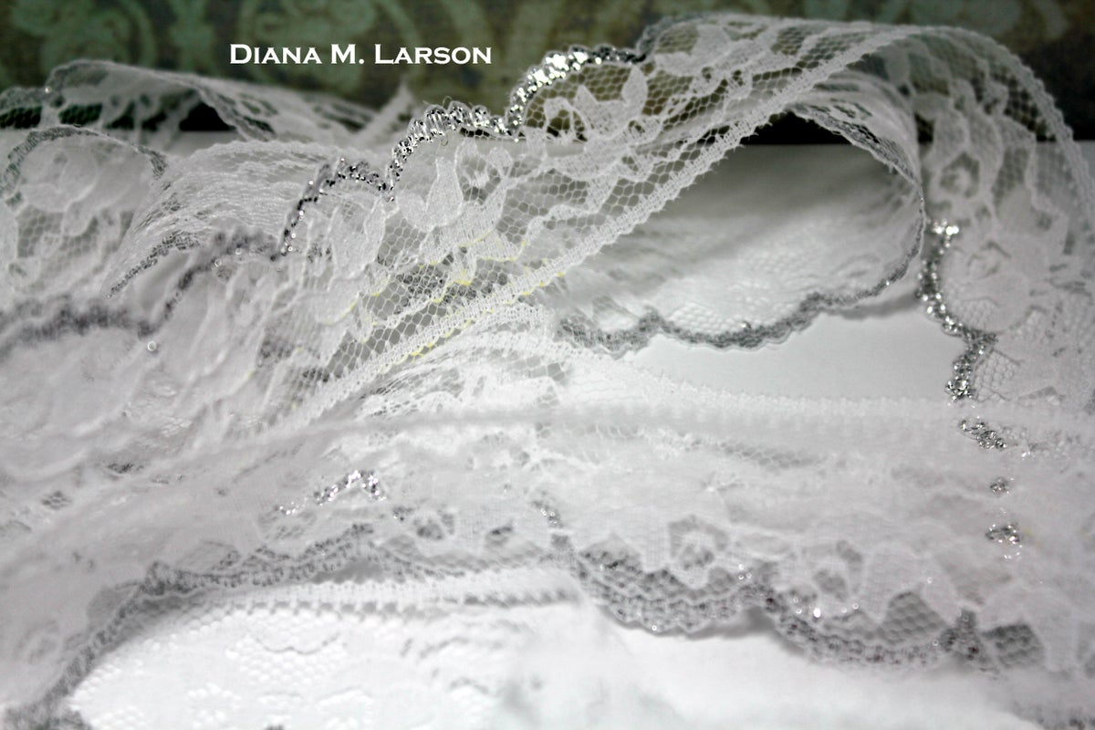 Image of White Flat Lace with Silver Edge