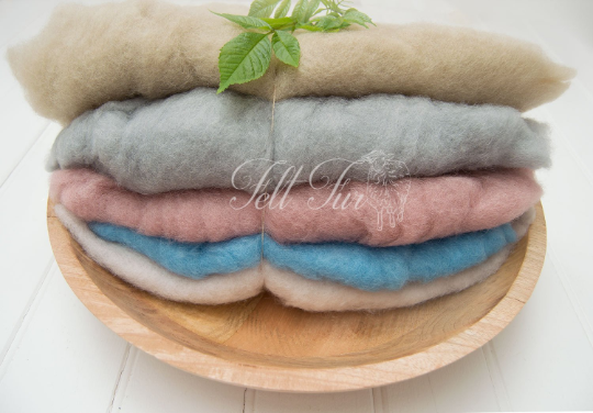 Image of Set A of 5 mini wool, Fluffy Wool, Posing blanket, Wool layer, Felt Basket Filler, RTS Prop,