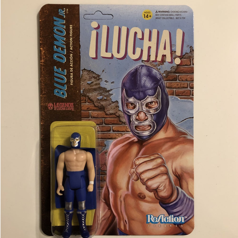 Image of GET IT NOW @ SUPER7.COM Blue Demon Jr. Legends of Lucha Libre ReAction Figure from Super7