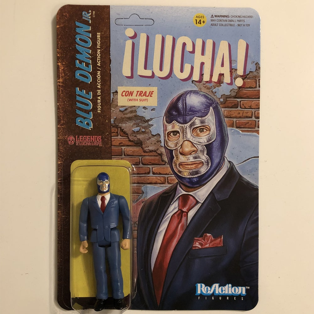 Image of GET IT NOW @ SUPER7.COM Blue Demon Jr. (In Suit) Legends of Lucha Libre ReAction Figure from Super7