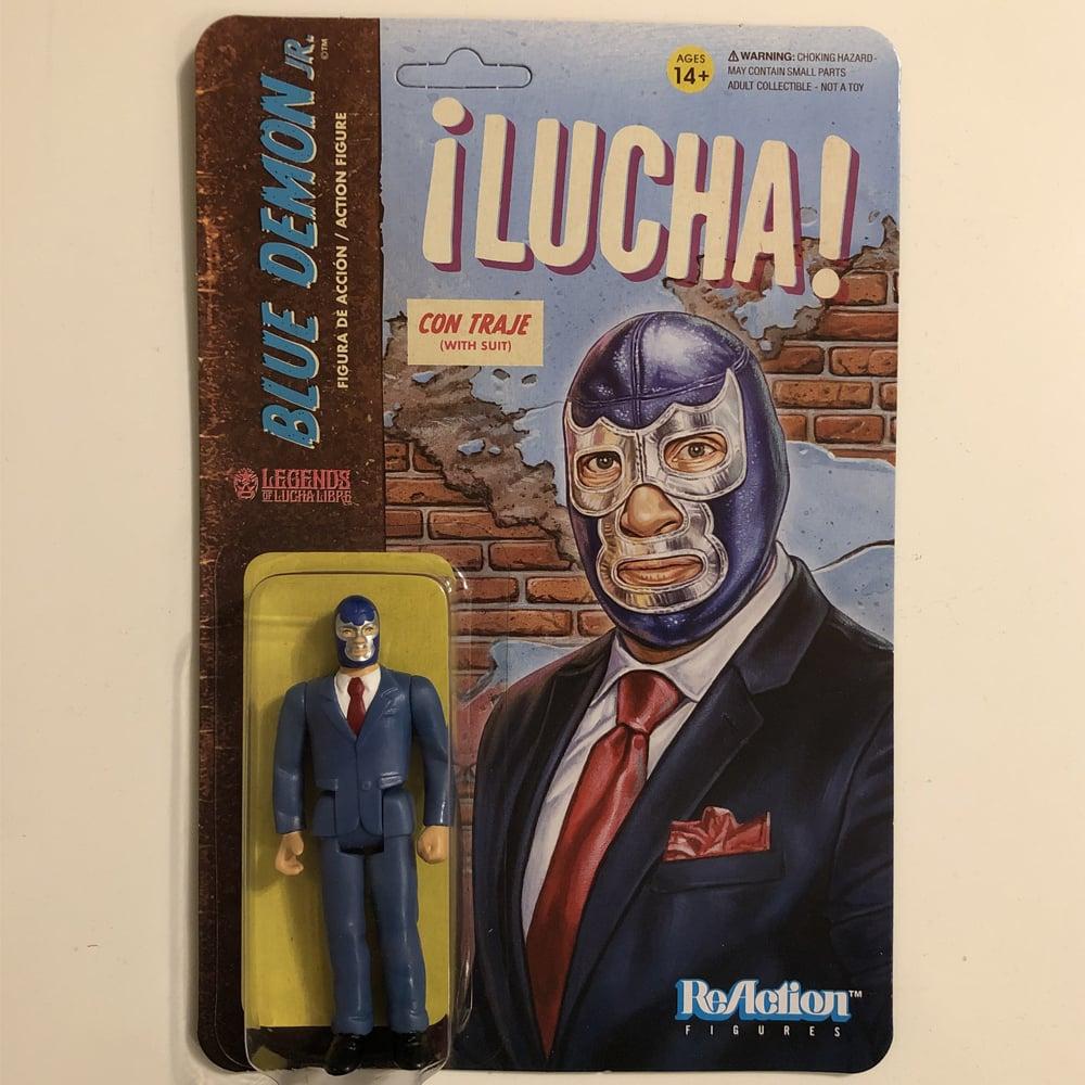 Image of GET IT NOW @ SUPER7.COM Blue Demon Jr. (In Suit) Legends of Lucha Libre ReAction Figure from Super7