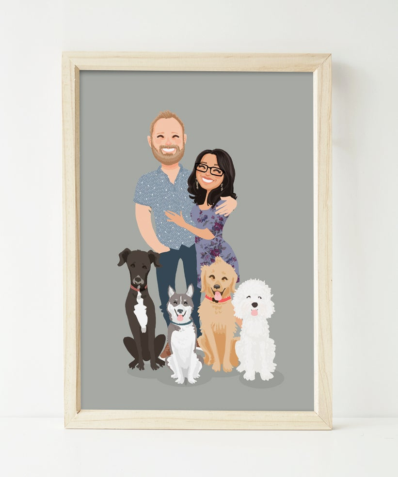 Image of Couple and 4 pets custom portrait