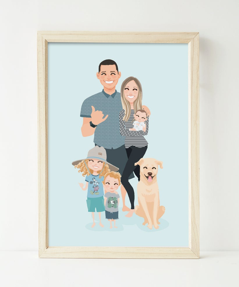 Image of Family of 5 and pets custom portrait