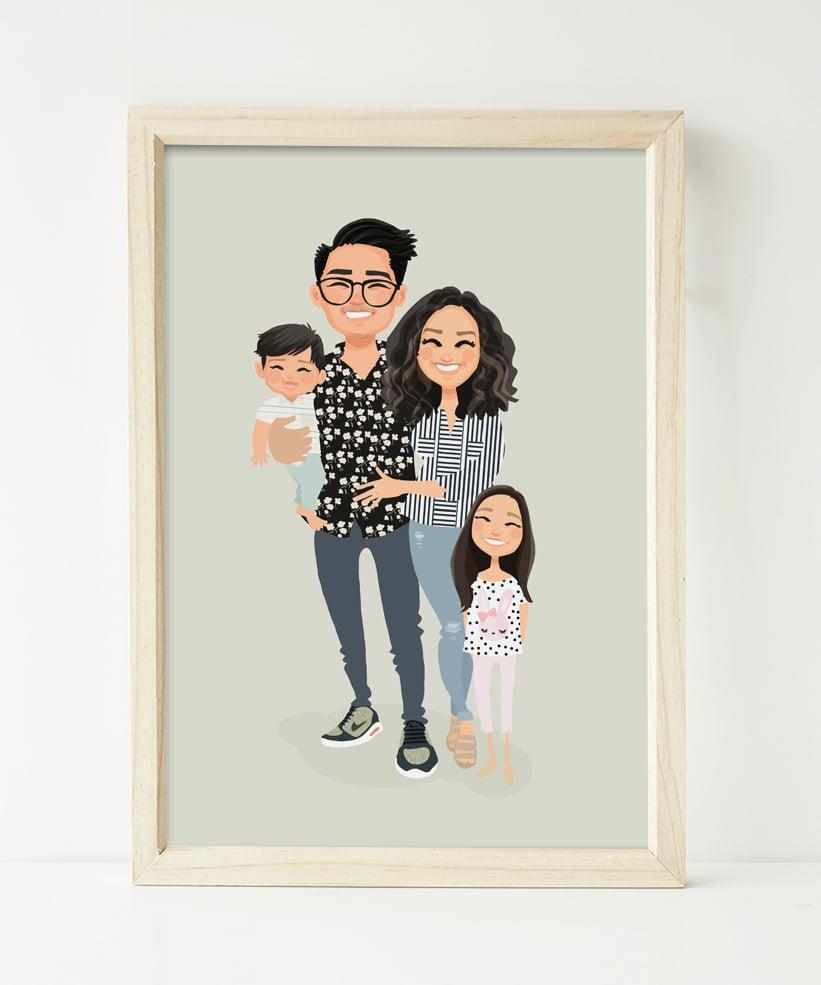 Image of Custom family portrait of 4