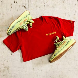 "Image of BOOSTED EMBROIDERY ""RED/NEON YELLOW EMBROIDERY"" T-SHIRT OR HOODY (WOMENS & MENS)"