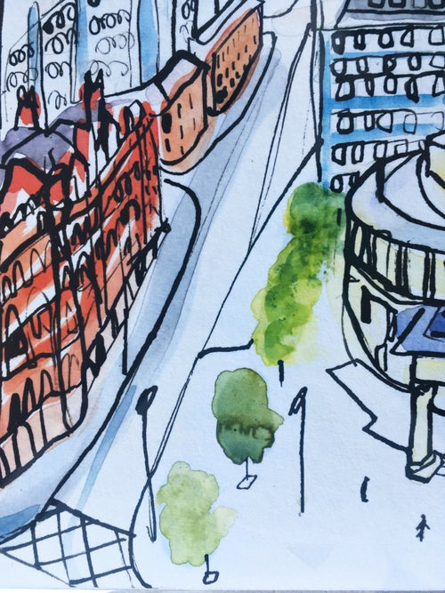 Image of limited edition Giclee print Manchester cityscape.