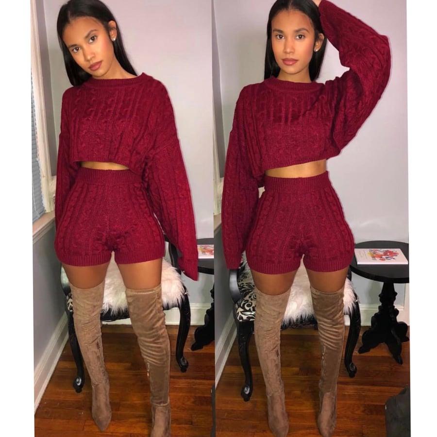 Image of Tara Burgundy sweater set