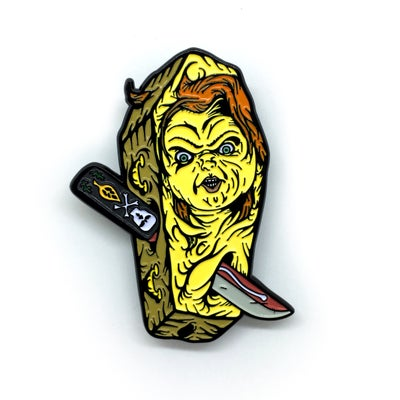 Image of Chucky Killer Coffin pin