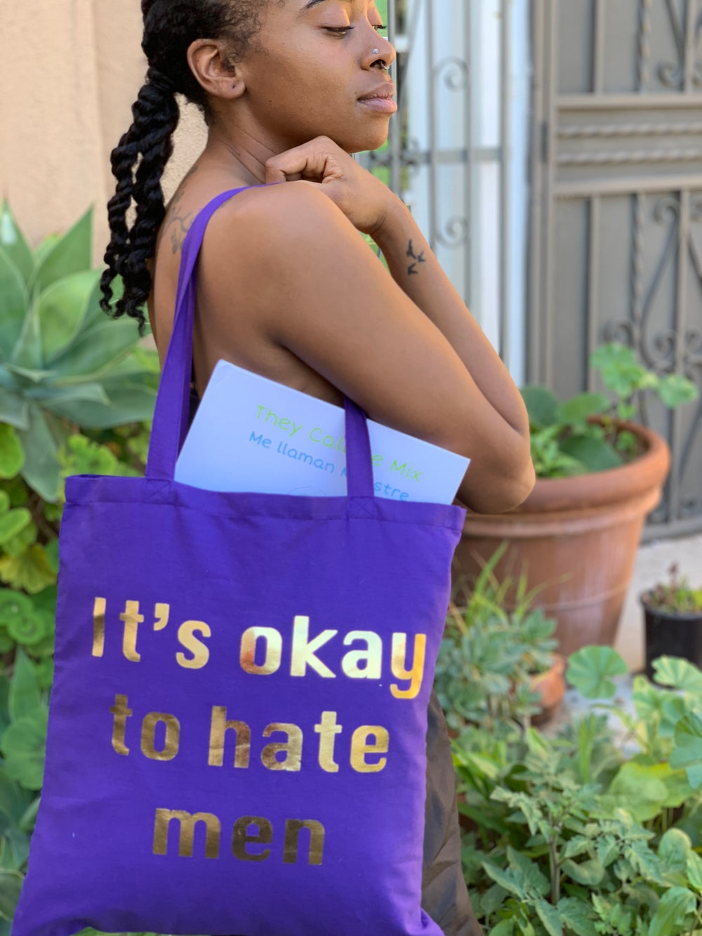"Image of ""It's okay to hate men"" Tote"