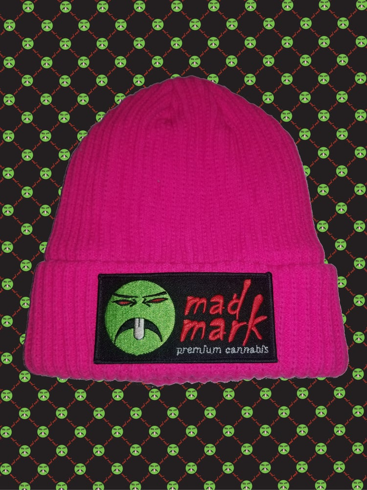 Image of winter knit fleece lined patched beanie