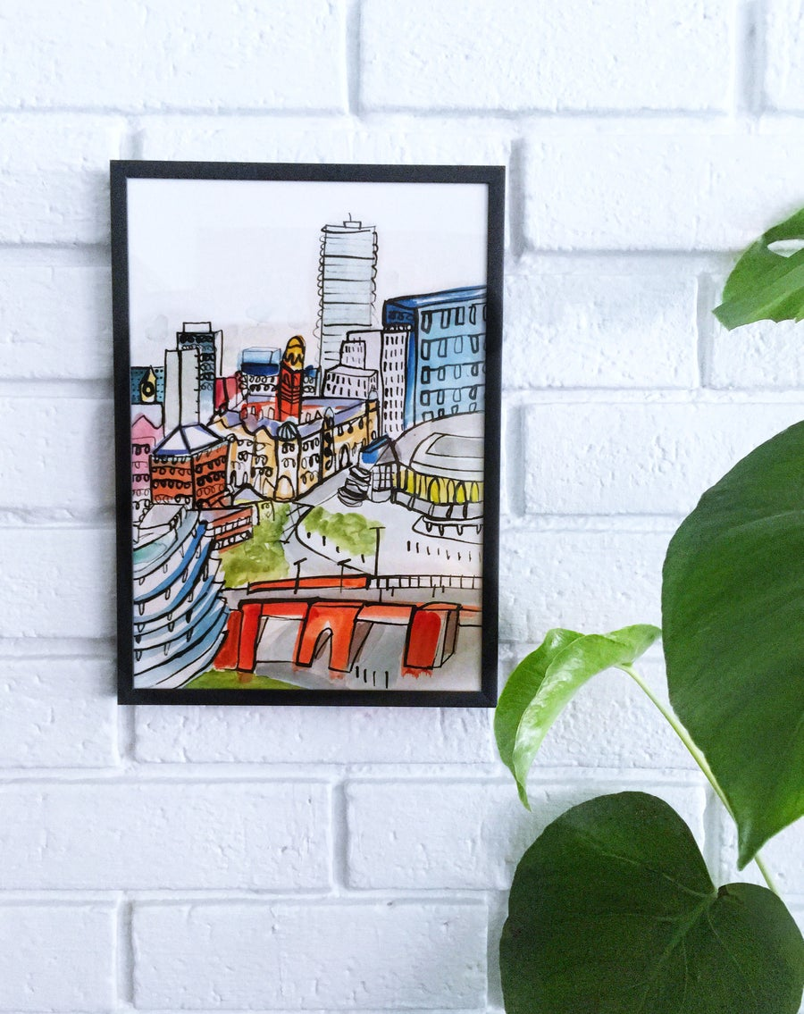 Image of Limited edition giclee print Manchester cityscape
