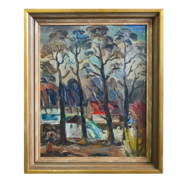 Image of Mid-century Oil, 'House in the Woods.'