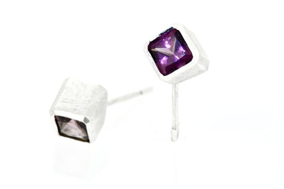 Image of Sterling cube studs set Rhodolite Garnets