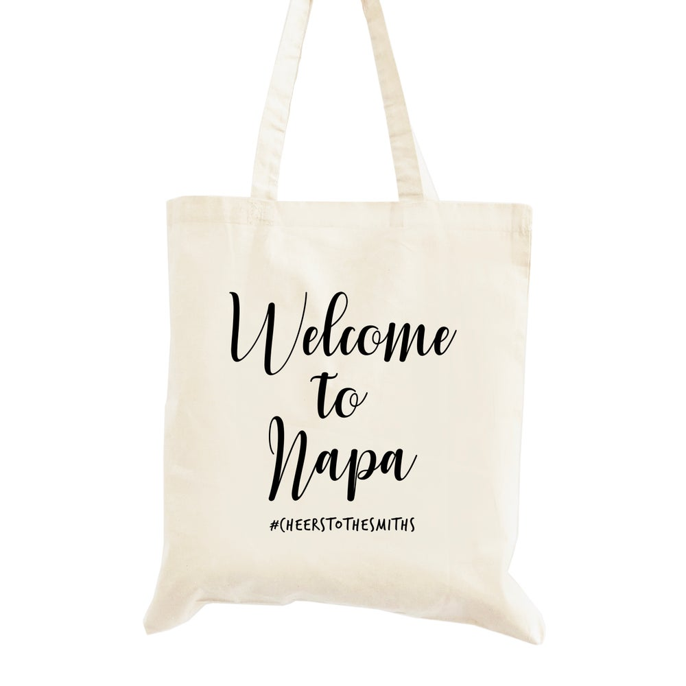 Image of Customizable Calligraphy Style Wedding Welcome Tote