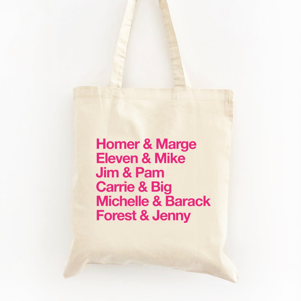 Image of Customizable Famous Couples Wedding Welcome Tote Bag