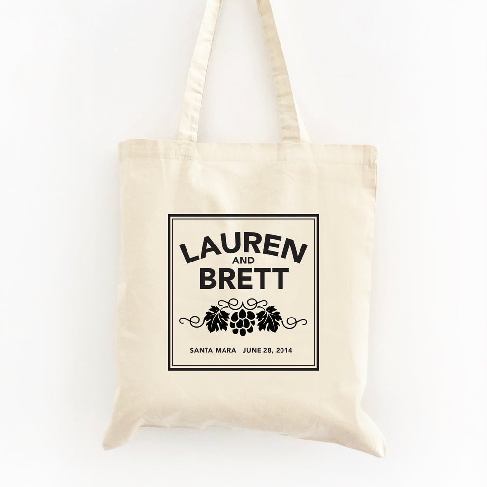 Image of Customizable Vineyard Themed Wedding Welcome Tote Bag