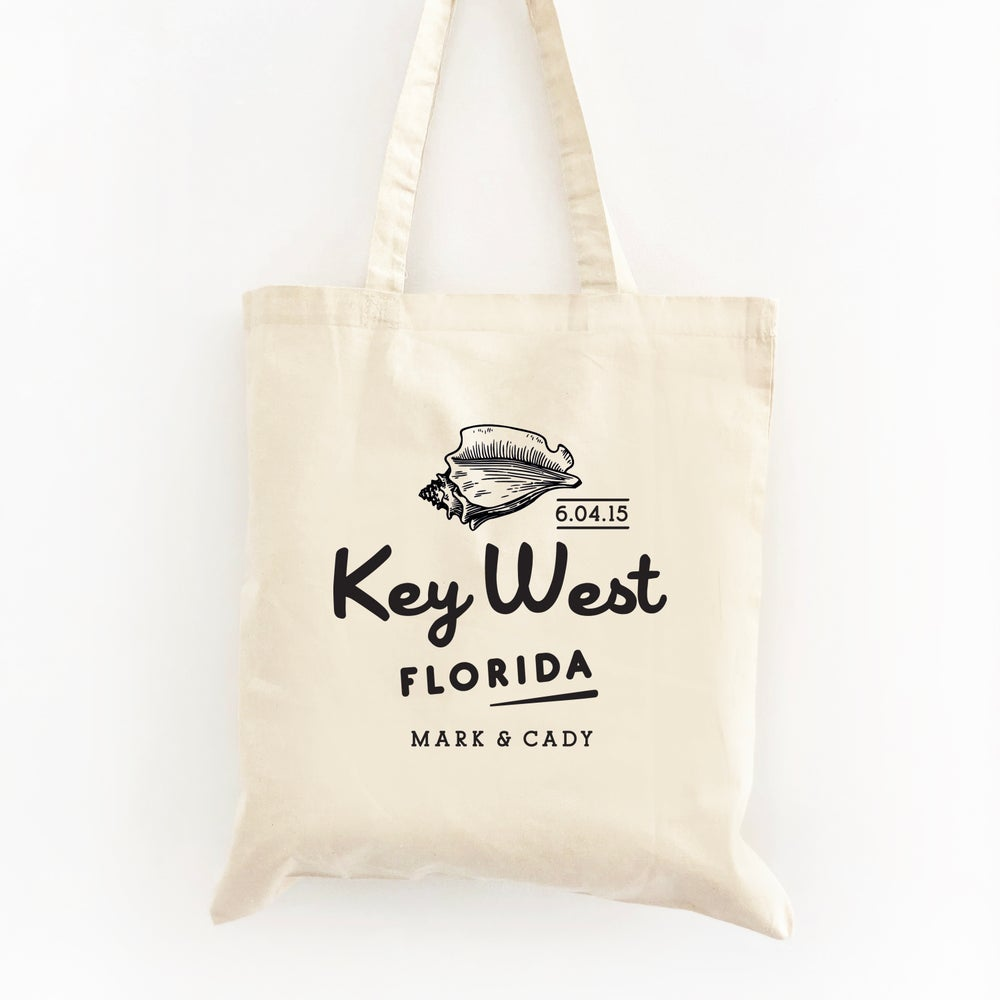 Image of Customizable Conch Shell Wedding Welcome Tote Bag