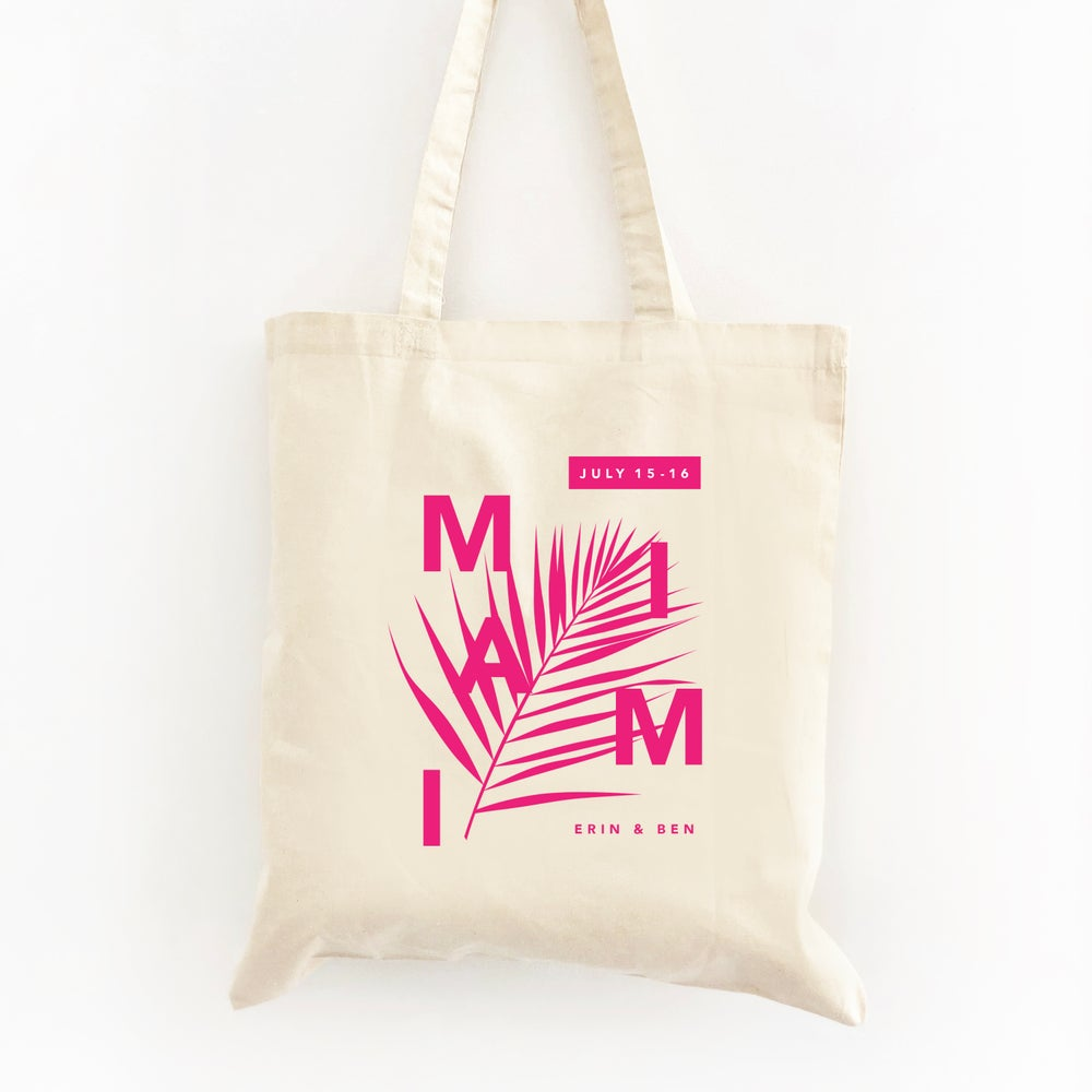 Image of Customizable Palm Wedding Welcome Tote Bag
