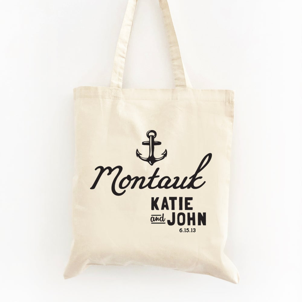 Image of Customizable Nautical Anchor Wedding Welcome Tote Bag
