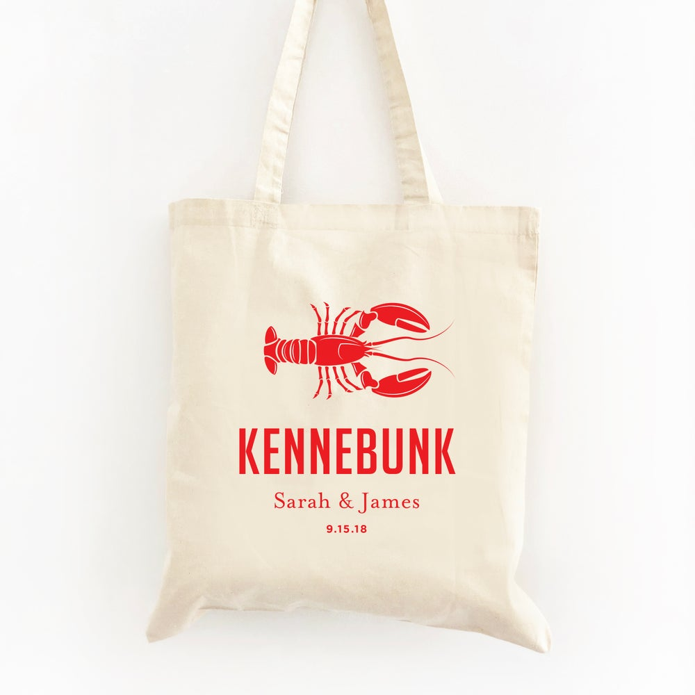 Image of Customizable Lobster Wedding Welcome Tote Bag