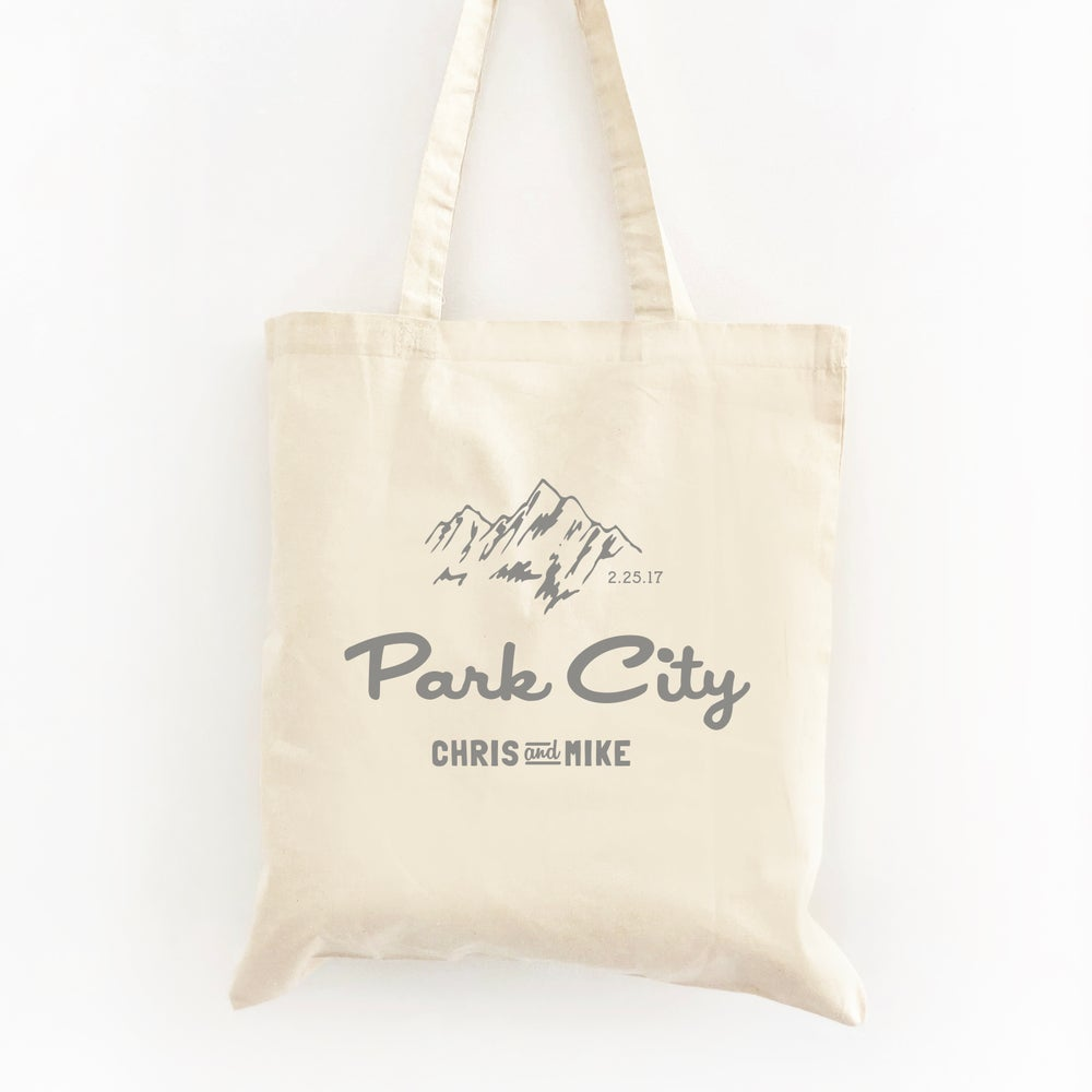 Image of Customizable Mountain Tote Wedding Welcome Bag