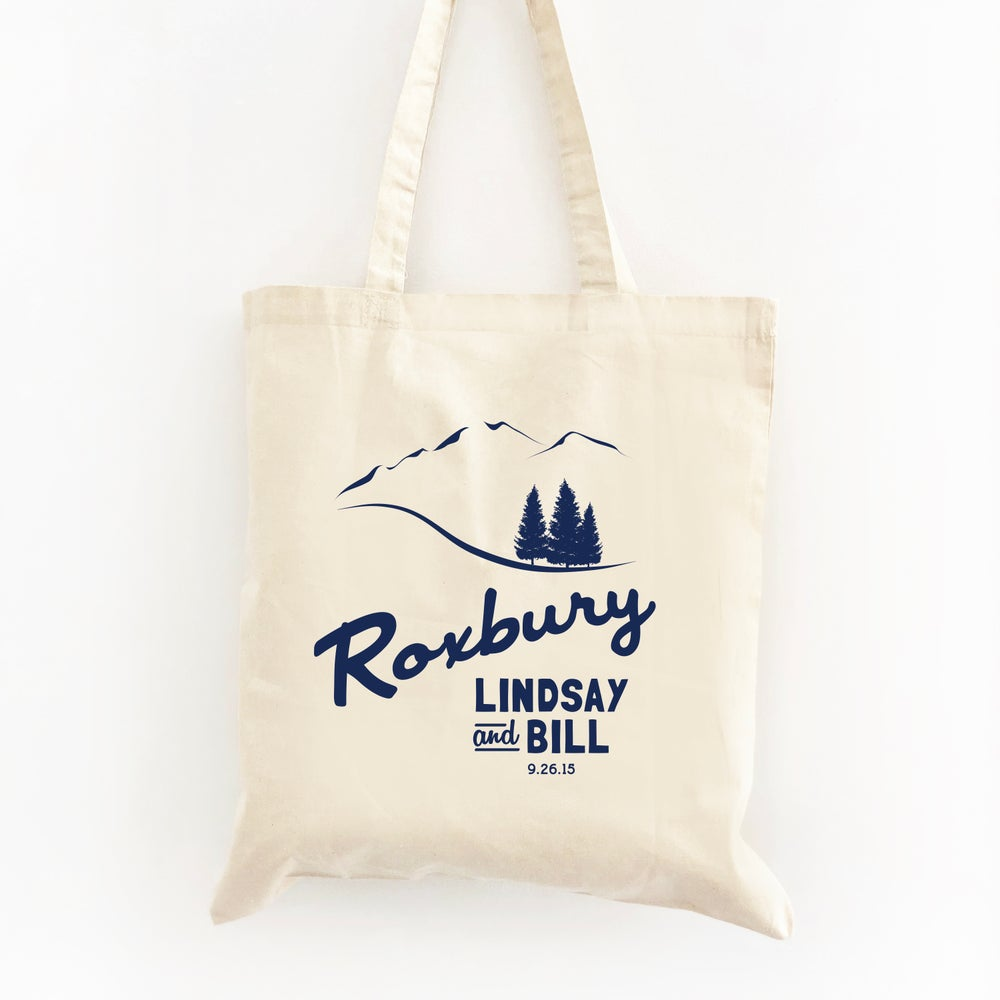 Image of Customizable Mountain Scene Wedding Welcome Tote Bag