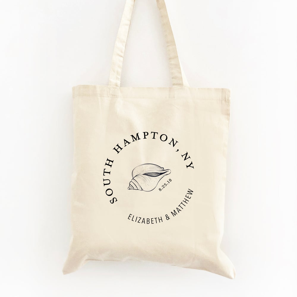 Image of Customizable Shell Circle Wedding Welcome Tote Bag