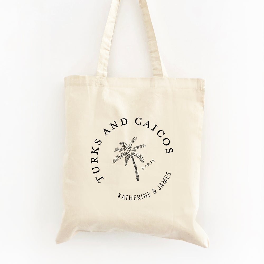 Image of Customizable Palm Tree Circle Wedding Welcome Tote Bag