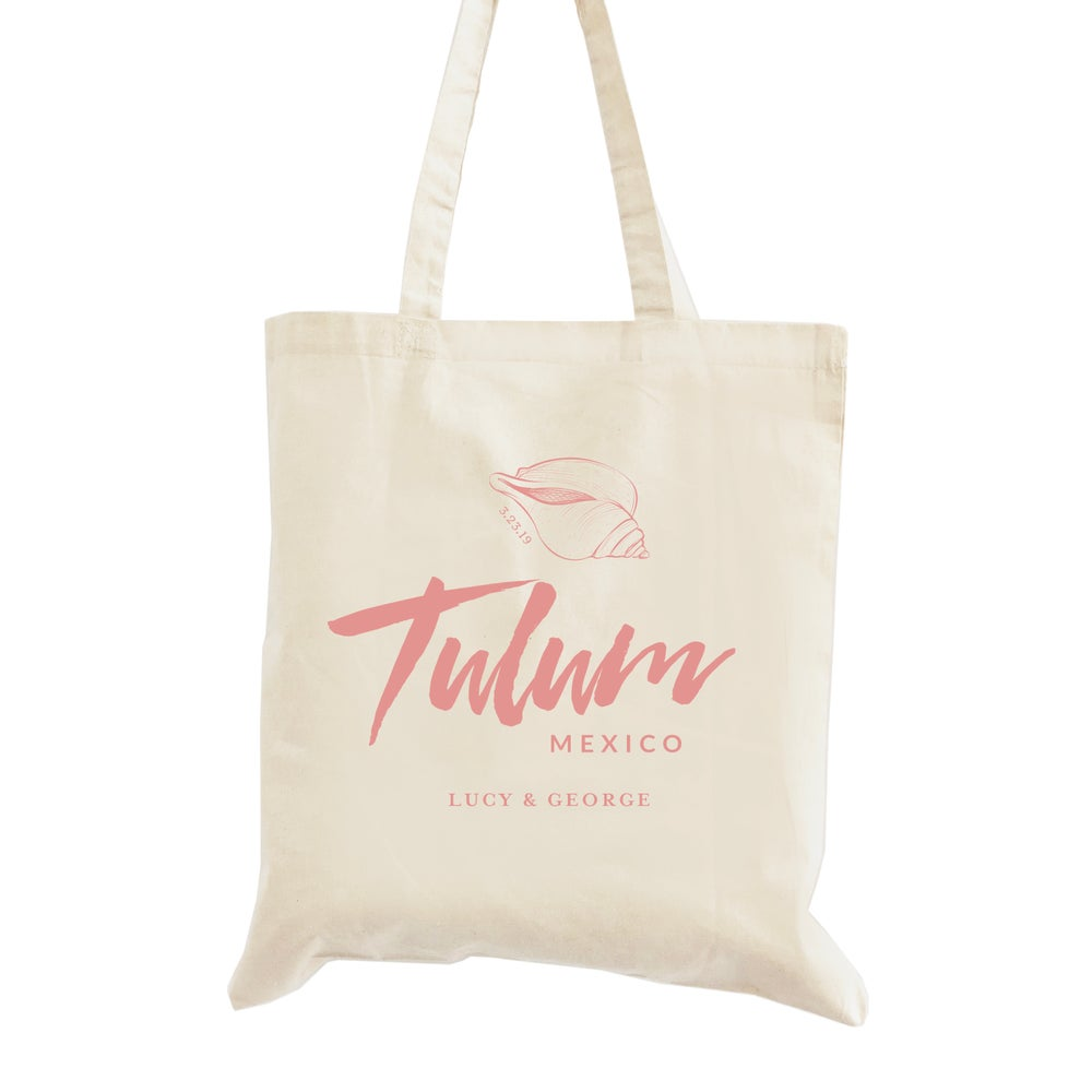Image of Customizable Beach Themed Wedding Welcome Tote Bag
