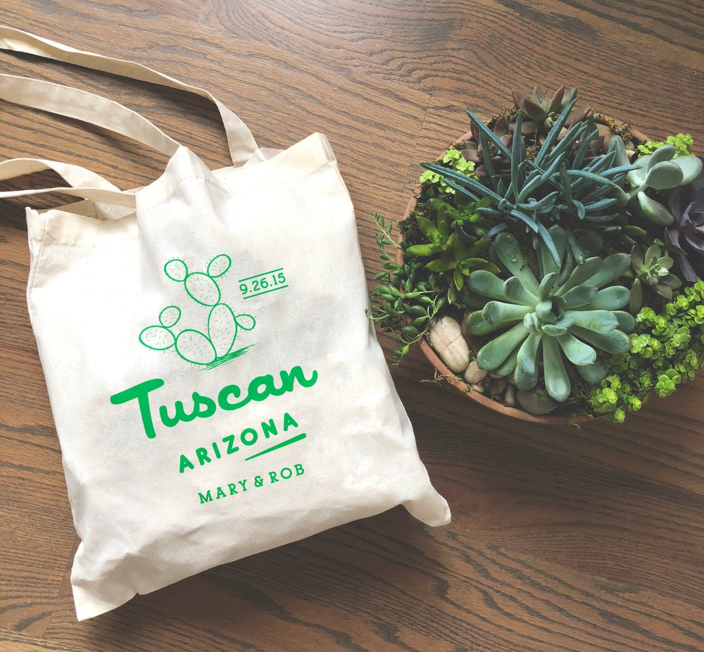 Image of Customizable Cactus Wedding Welcome Tote Bag