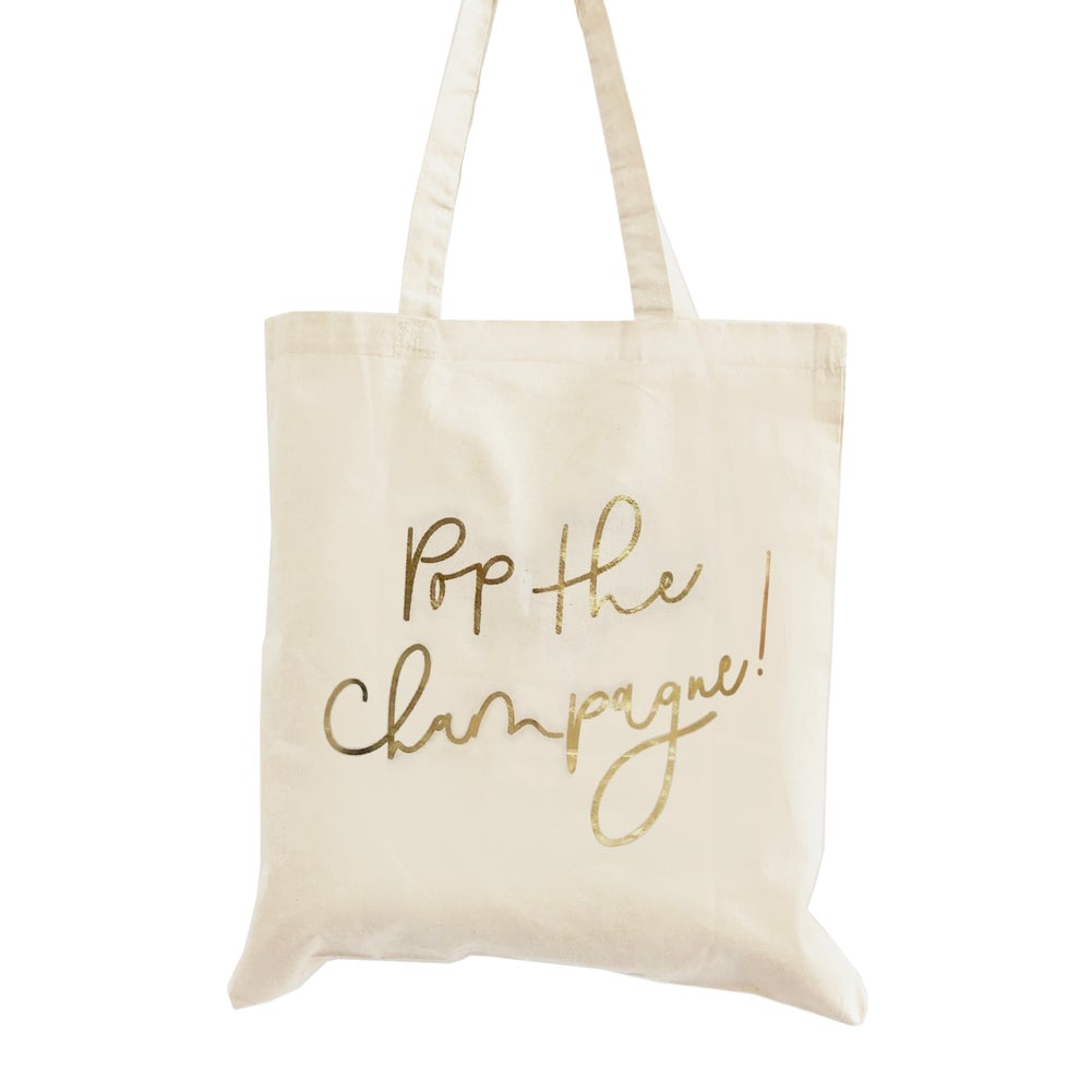 Image of Pop the Champagne Gold Foil Tote