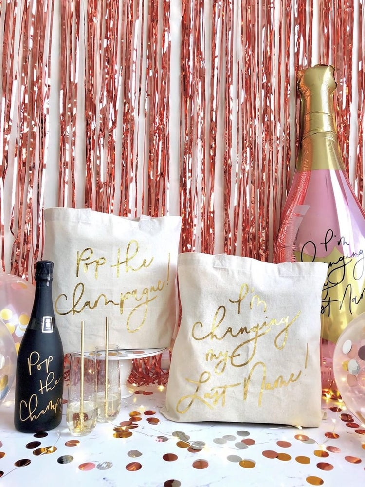 Image of I'm Changing My Last Name Gold Foil Tote
