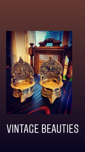 Image of Pair of Vintage Brass Goddess Oil Lamp