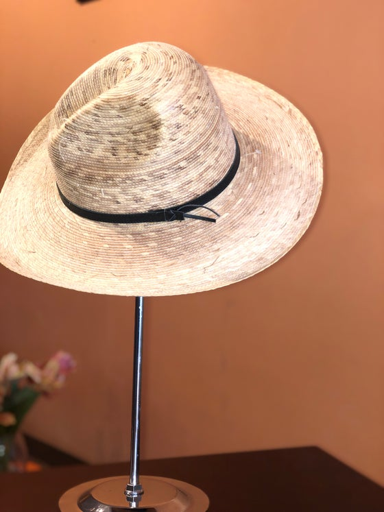 Image of Straw Hat with Black Ribbon Detail