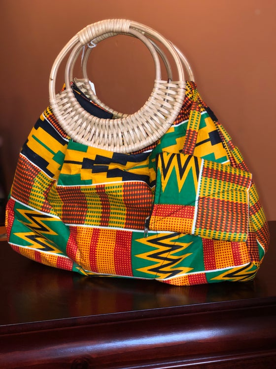 Image of African Print Purse with Straw Handle