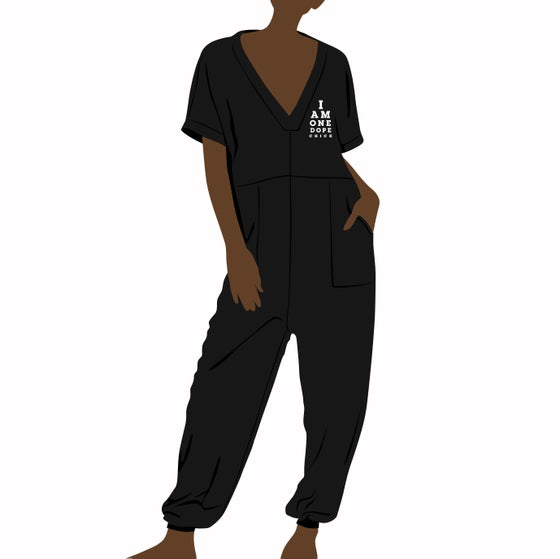 Image of I Am One Dope Chick Oversized Terry Fleece Jumpsuit In Black *PREORDER ONLY*