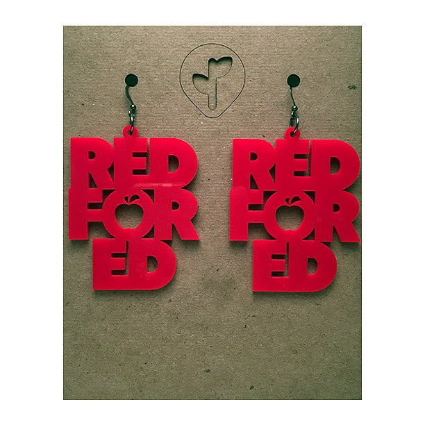 Image of red for ed / earring / acrylic