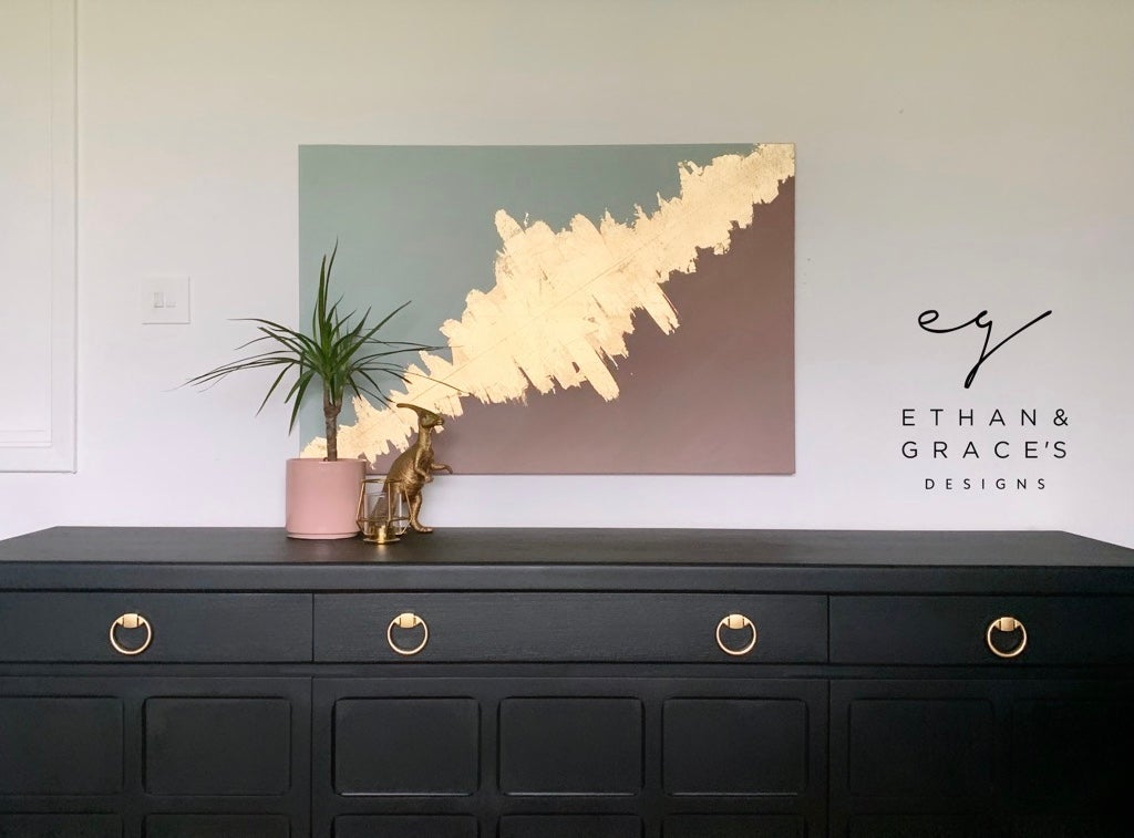 Image of A green dusky pink & gold leaf canvas made by Ethan & Grace's