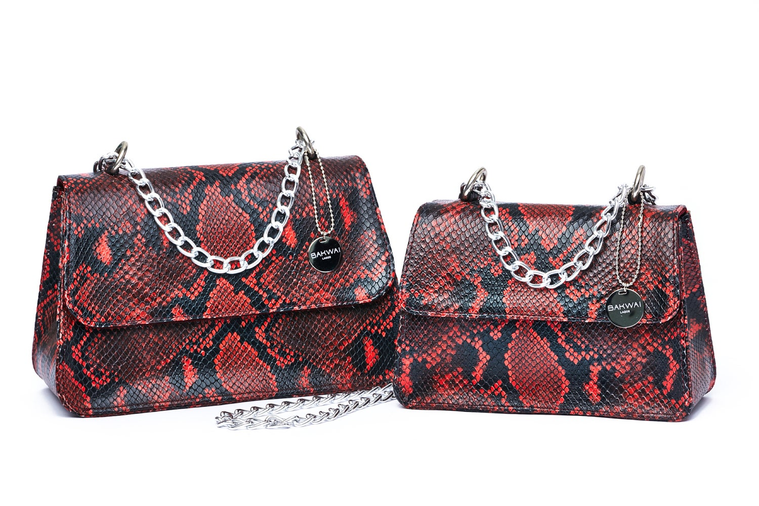 Image of Red Snakeprint Midi Tee Bag