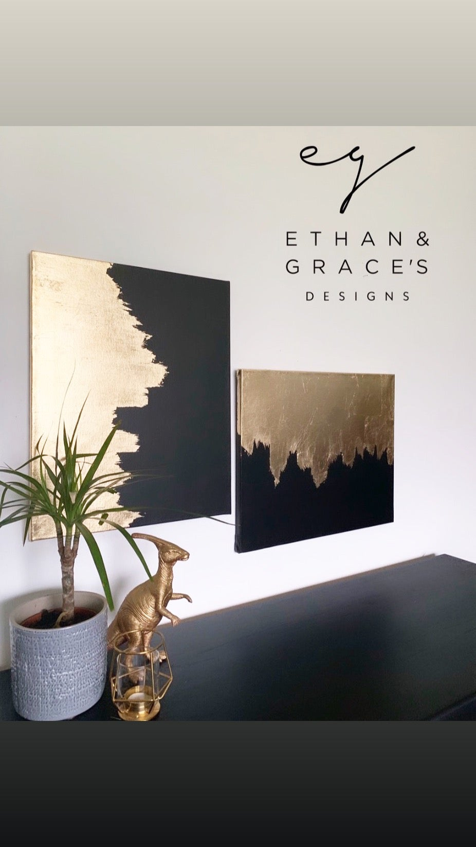 Image of Set of 2 canvases black & gold leaf
